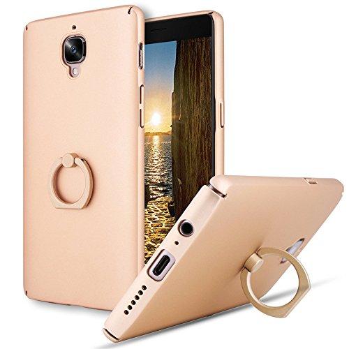 Funda compatible con OnePlus 3T, funda ultraligera para teléfono móvil de policarbonato duro, soporte flexible, antihuellas, función atril, resistente a los arañazos dorado talla única