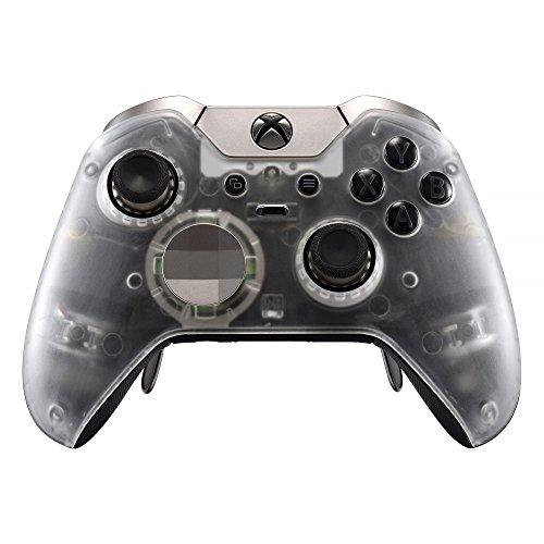 eXtremeRate Cover Custodia Anteriore Case Copertura Frontale Pezzo di Ricambio per Xbox One Elite Controller Model 1698 con 2 Anelli d'Accento(Trasparente)