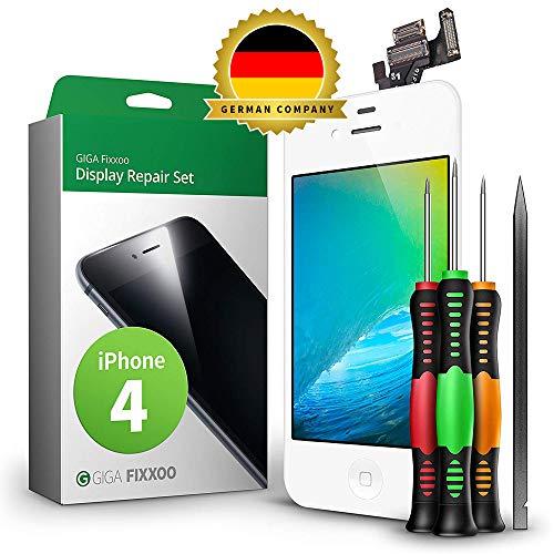 GIGA Fixxoo Display Set kompatibel mit iPhone 4, Reparaturset Komplett Weiß, Ersatz Bildschirm, Retina LCD Glas mit Touchscreen, inkl. integrierte Frontkamera & Werkzeug
