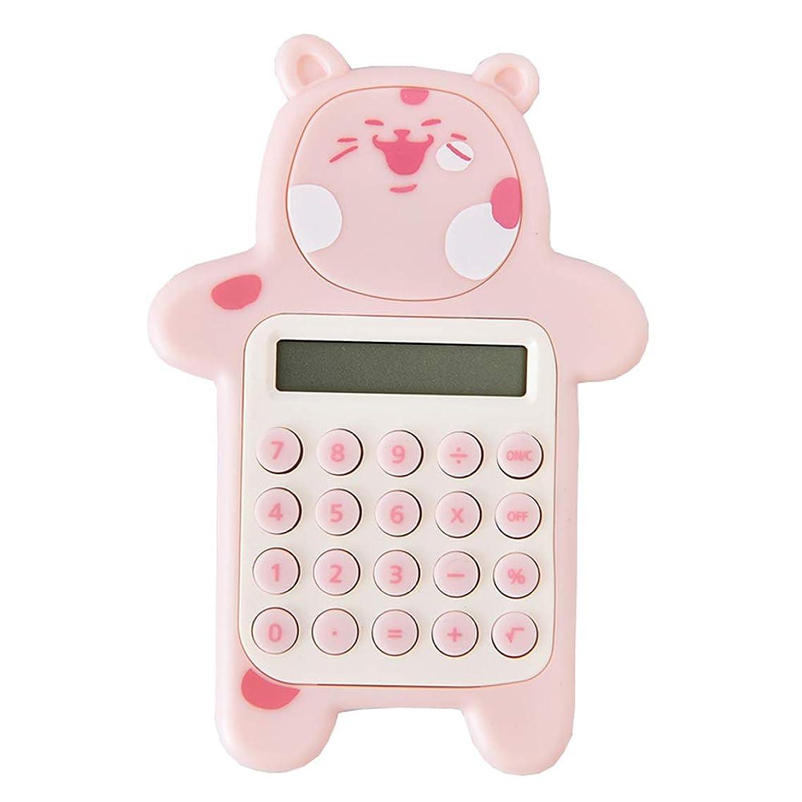 輝く委任する暫定かわいいクマの形クリエイティブミニ電卓学生電卓、ピンク