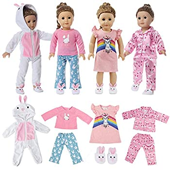 6 Pc Girl Doll Clothes Pajamas for American 18 Inch Doll Clothes and Accessories - 4 Set of Bunny Pajamas Includes White Onesie Pink Silky Pajama Pink Nightgown Pink&Blue PJs Fits My Life Doll