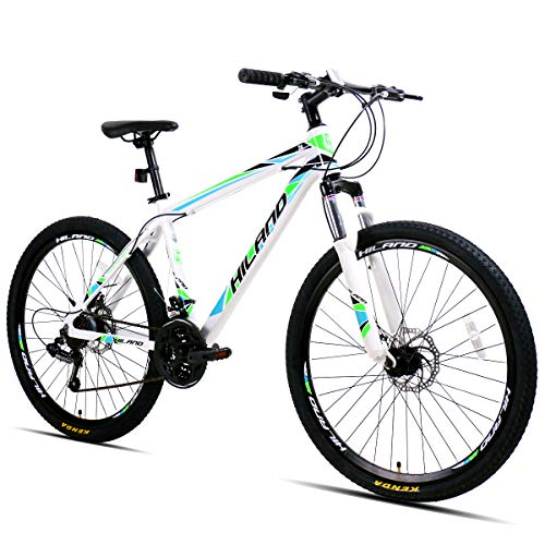 Hiland 26 Inch Mountain Bike Aluminum MTB Bicycle with 17 Inch Frame Kickstand Disc-Brake Suspension...
