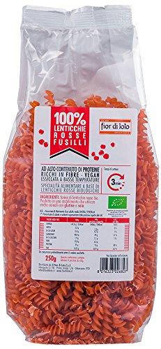 Benebio - Fusilli 100% Lentejas Rojas, 250 gr