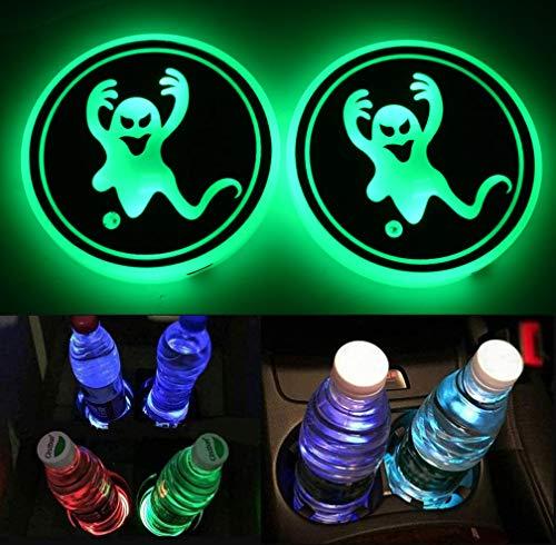 SOWFLYGO Portavasos LED, portavasos de coche con 7 colores cambiantes de carga USB, alfombrilla luminosa para botellas de coche, soporte de bebidas LED para decoración de interiores