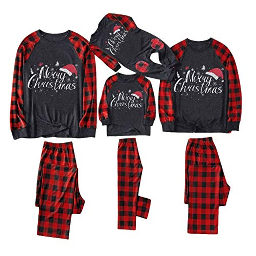 Christmas Family Pajamas Suit, SHOBDW Parent-Child Clothes Set Xmas Women Men Toddler Baby Kids Plaid Printed Romper Jumpsuit Long Sleeve Tops Pants Outfits Blouse Gifts(W-Red,Kids/4-5 Years)