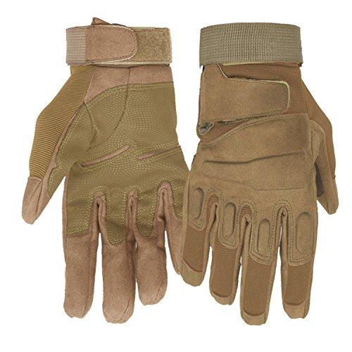 Mimicool Guanti Outdoor Uomo Finger Completa Militari Guanti Tattici Antiscivolo Indossare Guanti Resistenti della Bicicletta del Motociclo (Brown, XL)