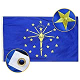 FLAGBURG Indiana State Flag 3x5 FT, IN State Flag 5x3 Foot, The Hoosier State Flag with Heavy Duty Embroidered Star, Outdoor Indoor All Weather 210D Nylon Flag with Strong Canvas Header/Brass Grommets