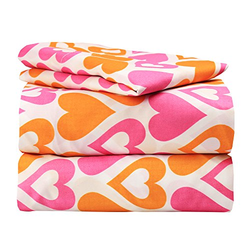 Dor Extreme Super Soft Luxury Orange and Pink Hearts Bed Sheet Set in 8 Different Prints, Twin, Galore, 3 Piece