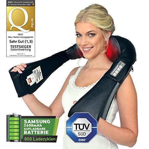 Cordless massaggiatore cervicale e da collo Donnerberg ORIGINALE con batteria Samsung ricaricabile-NM-090-Massaggio schiena-Marchio tedesco-Calore a infrarossi