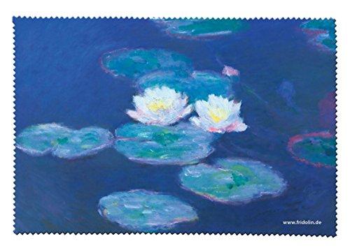 Fridolin 18826 Monet Nénuphars Chiffon de Nettoyage pour Lunettes Mousseline Multicolore 18 x 12,5 x 1 cm