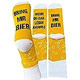 Sockswear Lustige Bring mir Bier Socken in gelber Spardose Größe 42-46 | Lustiges Geschenk für Männer