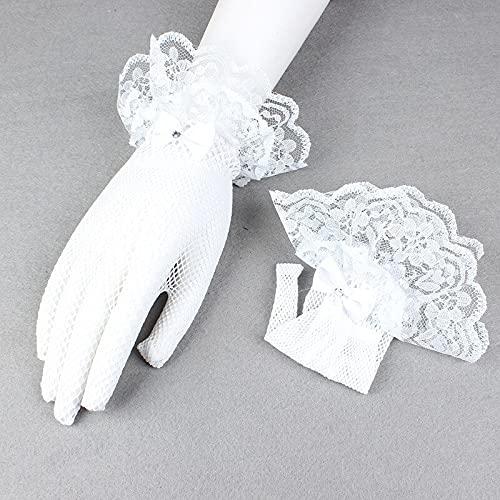 feichang Nylon Fishnet Gloves for Women Summer Lace Wrist Mesh Mitten Black White Dance Gloves Retro Gothic Lolita (Color : 2, Gloves Size : One Size)