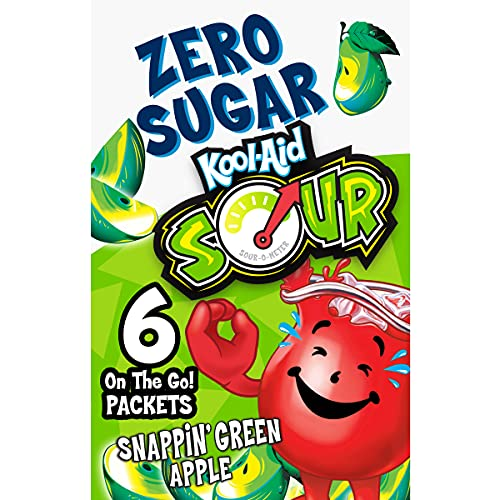 Kool-Aid Zero Sugar Sours Snappin' Green Apple Flavored Drink Mix (6 On-the-Go Packets)