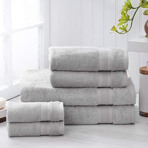 Welhome Premium 100% Egyptian Cotton Towel Set of 6 (Silver) - Super Absorbent - Soft & Luxurious Bathroom Towels - 600 GSM - Machine Washable : 2 Bath Towels - 2 Hand Towels - 2 Wash Towels