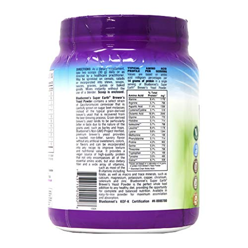 Bluebonnet Nutrition Super Earth Brewers Yeast Powder, Super Food, Whole Food, Source for Vitamins, Great Tasting, Vegan, Vegetarian, Non GMO, Gluten Free, Soy Free, Milk Free, Kosher, 2 lb