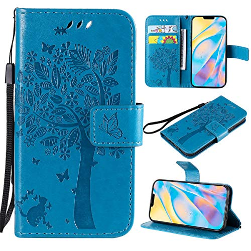 Capa carteira XYX Emboss Cat Tree Butterfly Flowers para LG V50/LG V50 ThinQ (azul)