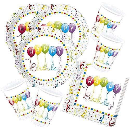 52-teiliges Party-Set Happy Birthday Streamers - Motiv: Luftballons - Teller Becher Servietten für 16 Kinder