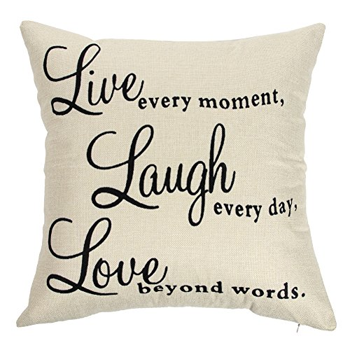 Ogiselestyle Live Every Moment Laugh Every Day Love Beyond Words Motivational Sign Cotton Linen Home Decorative Throw Pillow Case Cushion Cover with Words for Book Lover Sofa Couch 18' x 18'