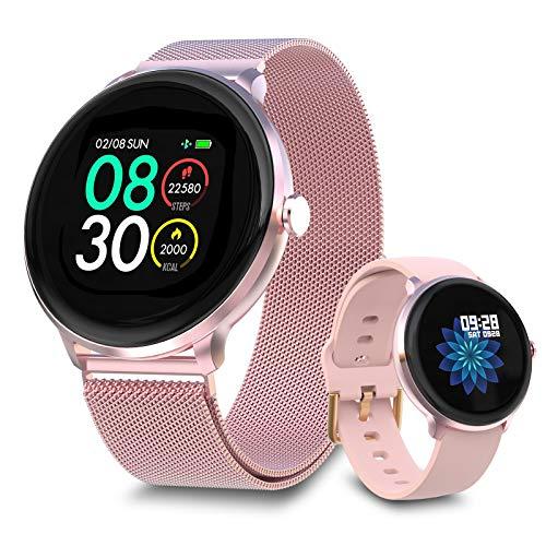 Bebinca 【Versión Mejorada】 Smartwatch Reloj Inteligente,Monitor de frecuencia cardíaca automático7/24,Clima, oxígeno en...