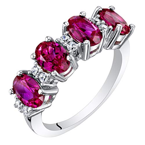 Sterling Silver Oval Cut Created Ruby Anniversary Ring Band 2 Carats Size 7