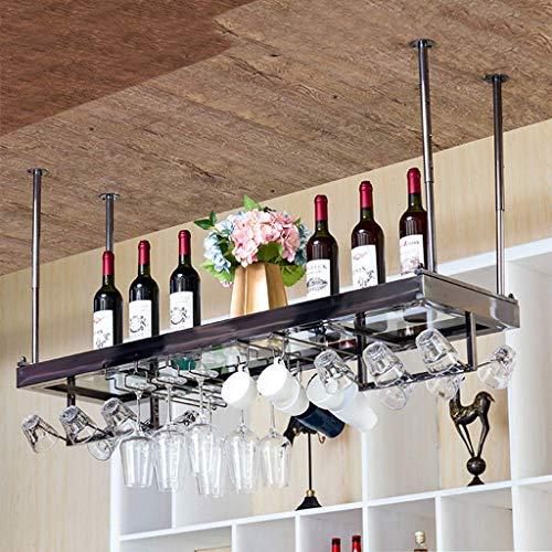 COLiJOL Botelleros de Techo con Colgador de Tazas Soporte de Vino Colgante de Metal Accesorios para Vino Soporte de Botella Colgante Al Revés Estante de Vidrio con Laminado de Vidrio para Estante de