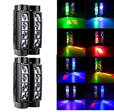 2Pcs LED RGBW 8x3W Head Moving Stage Spider Beam Light DMX512 Disco DJ Party Lights Lighting UK Plug 220~240V