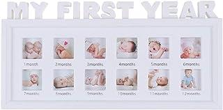 Shuxinmd Bebé Marco Fotos mi Primer Año Bebé Foto Múltiple Marco Perfecto Primer Cumpleaños Accesorios para de Bebé Cumpleaños 41 X 20cm (Blanco)
