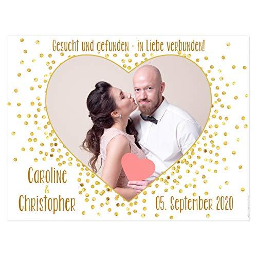 Herz & Heim® Hochzeitsbanner Herz zum Ausschneiden für Hochzeitsspiel mit Namen und Datum - Motivauswahl Fotoherz Gesucht und Gefunden