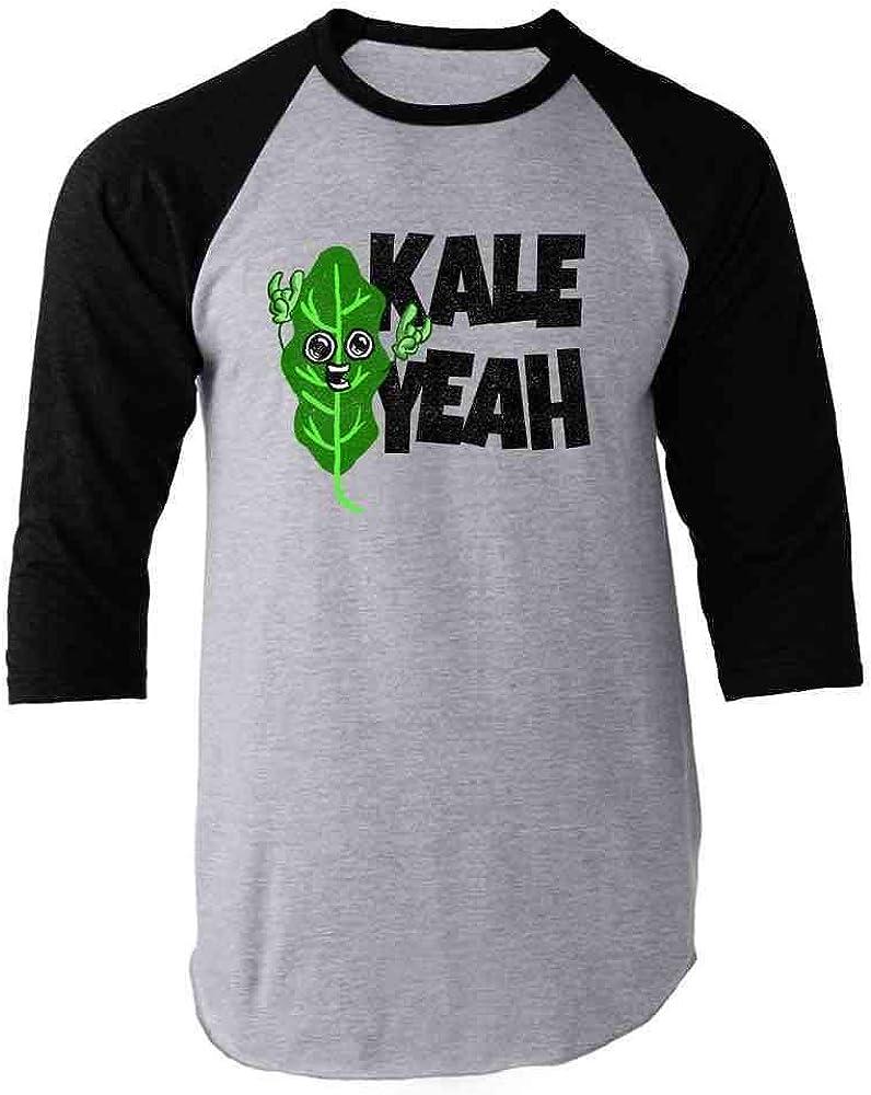 Pop Threads Kale Yeah! Funny Vegan Vegetarian Black 2XL Raglan Baseball Tee Shirt