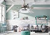 Restaurante de acero inoxidable, ventilador de techo, luz del ventilador, dormitorio, moderno, minimalista, control remoto, ventilador eléctrico, LED lámpara colgante,Hoja de acero inoxidable