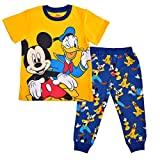 Disney Boy's Mickey and Friends 2-Piece Character Shirt and Jogger Pant Set, Yellow/Blue, Size 4T