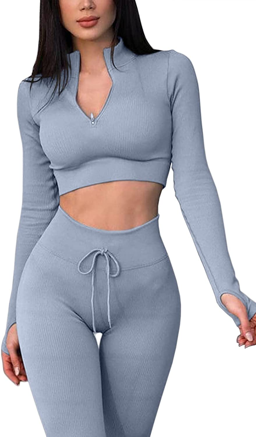 QINSEN Workout Sets for Women 2 Seamless Sales of SALE items from new works Piece Crop sold out Long Sleeve