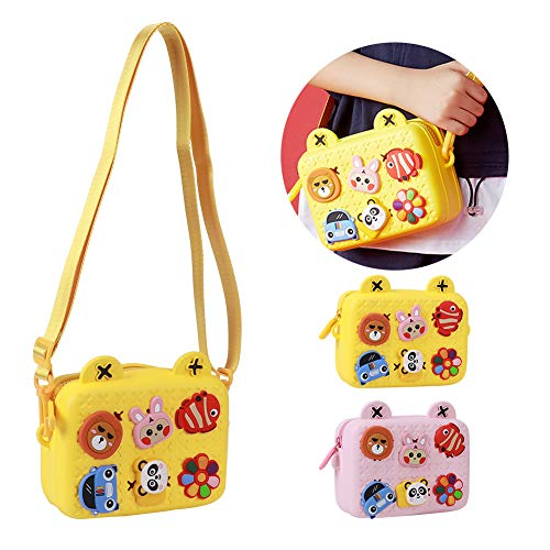 awstroe Kids Camera Bag,Portable Lovely Children Camera Bag Single Shoulder Messenger Crossbody Chest Bag Cartoon Storage Children Camera Bag Gift for kids(yellow)