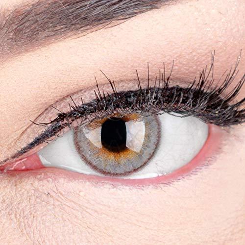 Sehr stark deckende und natürliche Graue Kontaktlinsen SILIKON COMFORT NEUHEIT farbig 'Daisy Gray' + Behälter von GLAMLENS - 1 Paar (2 Stück) - DIA 14 mm - ohne Stärke 0.00