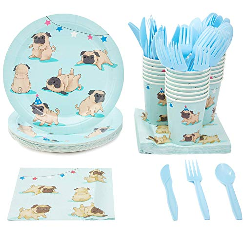 Pug Party Bundle, Includes Plates, Napkins, Cups, and Cutlery (24 Guests,144 Pieces)
