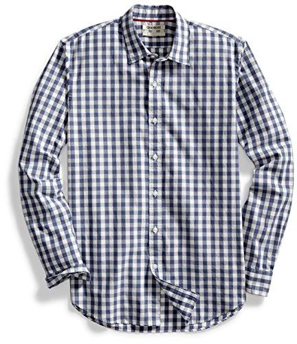 goodthreads para hombre ajustada camisa de gran escala de cuadros de manga, Azul marino/Blanco, Small