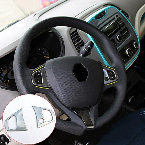 ABS mat Intérieur volant Bouton Cadre Garniture décorative Coque 2 pcs pour Captur 2013 - 2019 Accessoire de voiture