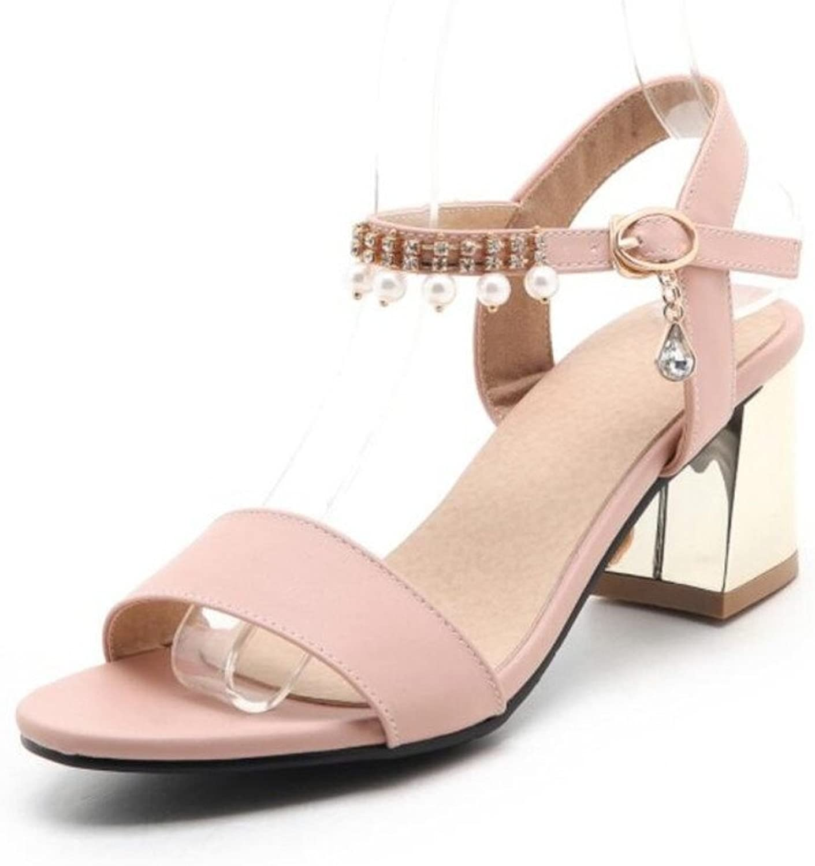 WEIQI-Damen Sommer Sandalen Wort Schnalle Sü Open Toe High Heels mit Perle, 6cm