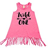 Wild One 1st Birthday Fringe Dress for Baby Girls First Birthday Outfit Pink Fringe Dress