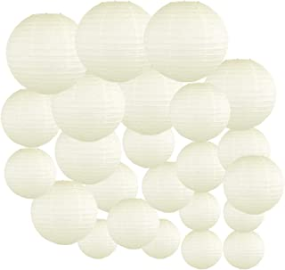 Just Artifacts Decorative Round Chinese Paper Lanterns 24pcs Assorted Sizes (Color: Ivory)