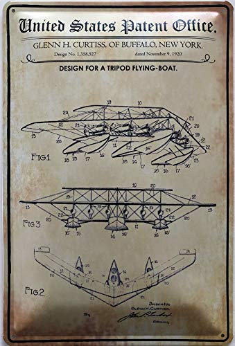 Deko7 metalen bord 30 x 20 cm United States Patent Office - Design for a Tripod Flying Boat 1920