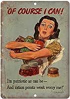 第二次世界大戦の食料配給コース私はレトロな外観の金属/ティンサインをポスターできます