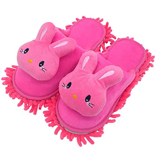 Selric Cute Bunny Mop Slippers Shoes Closed Toe Slippers Rose Red, Microfiber House Floor Cleaning Tool Detachable Mopping Shoes 9 7/9 Inches Size:5.5-8.5
