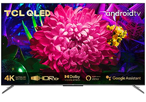 TCL 65C715 QLED Fernseher 165 cm (65 Zoll) Smart TV (4K Ultra HD, HDR 10+, Dolby Vision Atmos, Triple Tuner, Android TV, Hands-Free Voice Control, Google Assistant & Alexa, rahmenloses Metalldesign)