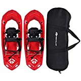 Goplus 25-inch Snowshoes for Men and Women, Lightweight Snowshoes w/Heel Lift, Adjustable Ratchet Bindings, Hard Rack Grip Teeth and Carrying Bag, Anti Slip Snow Shoes for Hiking, Climbing (Red)