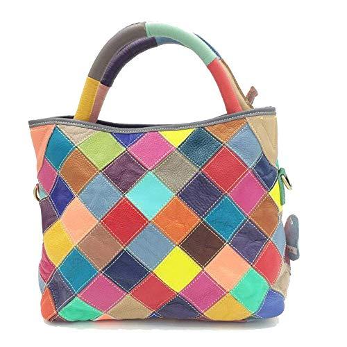 Leilims Your Bag Damen Leder Plaid-Schulter-Beutel Farbe Passende Handtasche Mode-Retro Messenger Bag Elegante Tote Kreative (Color : Black, Size : 31x27x14cm)