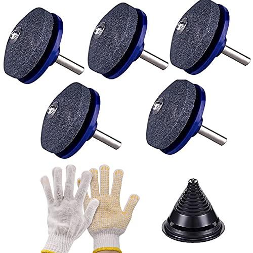 Ysislybin 5 affilacoltelli per tosaerba, con guanti e compensatore per coltelli, attrezzi da giardino per trapano a mano