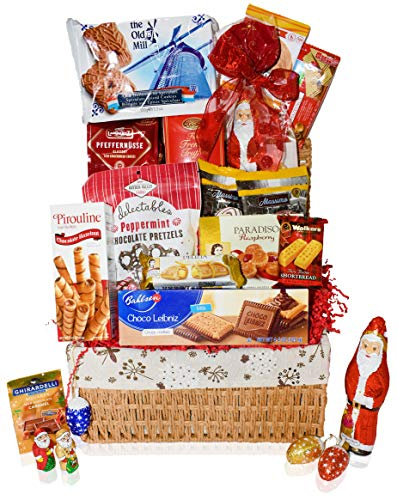 Christmas Gift Baskets - Chocolate, Santa, Cookies, Candy, Waffles, Pretzels - Perfect Care Package Gifts or College Students, Couples, Military, Women, Men, Family, Friends, Boys, Girls
