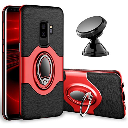 Samsung Galaxy S9 Plus Case - eSamcore Ring Holder Kickstand Cases + Dashboard Magnetic Phone Car Mount [Red]