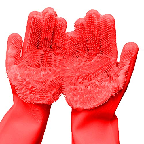 Cleaning Sponge Gloves, Dishwashing Gloves, Silicone Reusable Cleaning Brush Heat Resistant Scrubber Gloves for Housework, Kitchen Clean, Bathroom, Bathing, Car Washing. 1 Pair (13.6' Large)